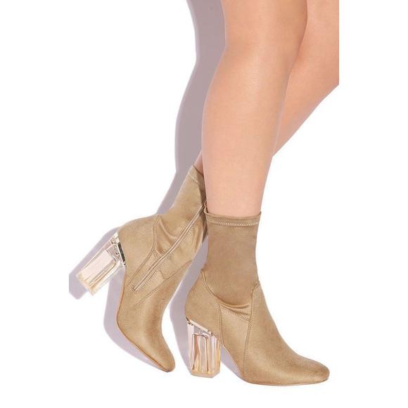 befd6417811 Chunky Suede Clear Block Heel Nude Booties 7